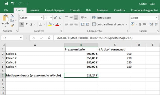 Come fare la media ponderata su Excel