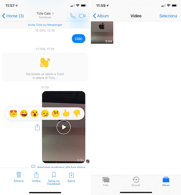 video ricevuti su messenger