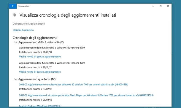 Come disinstallare un aggiornamento da Windows 10