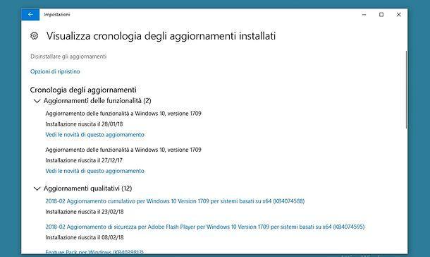Come disinstallare un aggiornamento da Windows 10