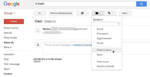 Come recuperare messaggi cancellati Gmail