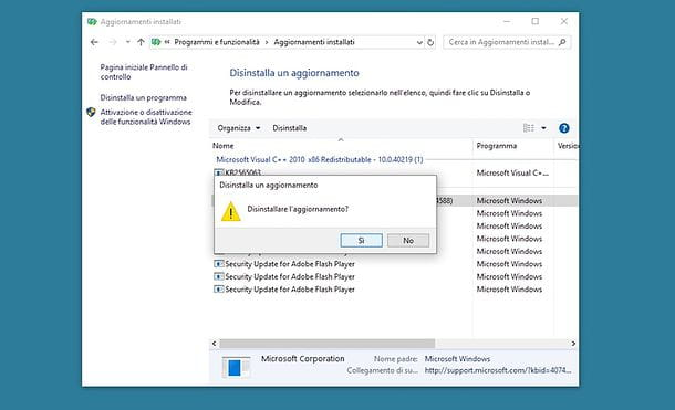 Come disinstallare un aggiornamento da Windows