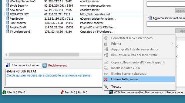 Come eliminare i server di eMule automaticamente