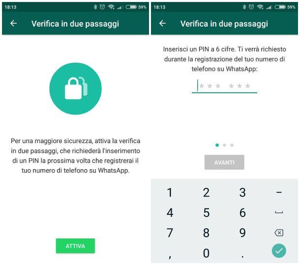 Abilitare l'autenticazione a due fattori su WhatsApp