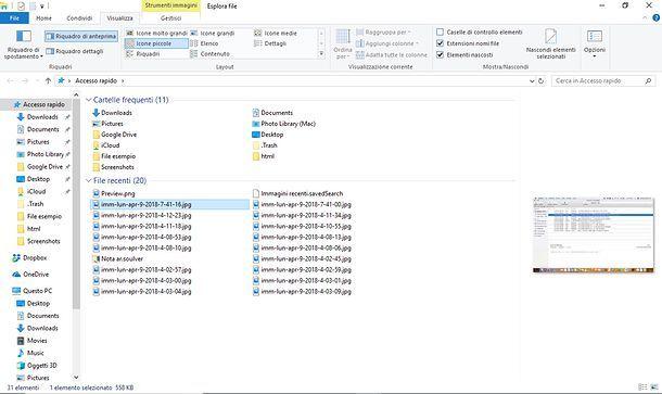 Visualizzare anteprime Esplora File