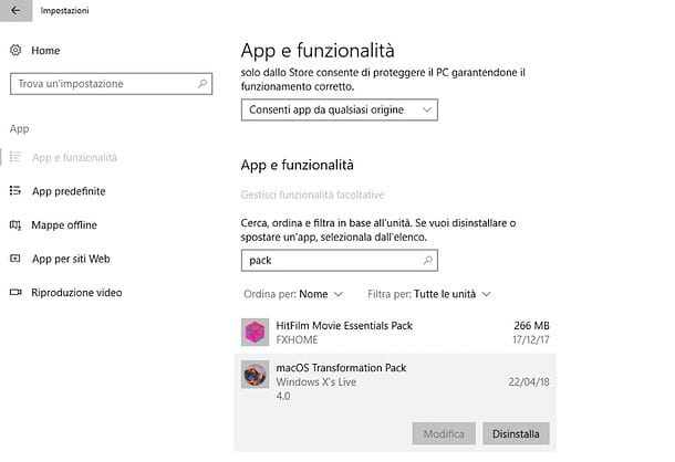 Come disinstallare macOS Transformation Pack