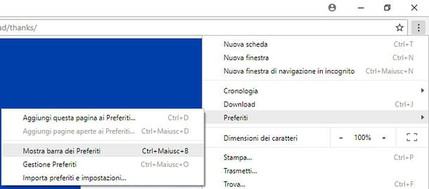 Come nascondere barra preferiti Chrome