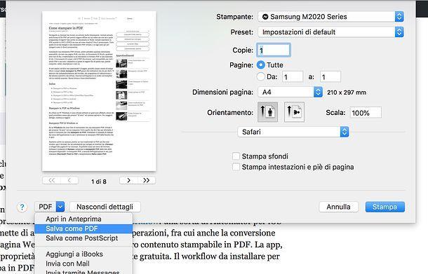 Come copiare una pagina Web in PDF macOS