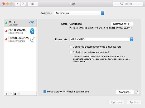 Come eliminare connessione automatica Mac