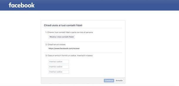 Recuperare account Facebook con amici fidati