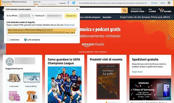 Come guadagnare con Amazon inserimento link affiliati