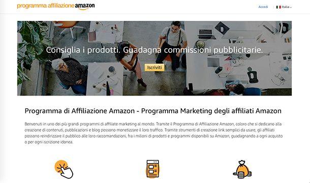 Come guadagnare con Amazon programma di affiliazione