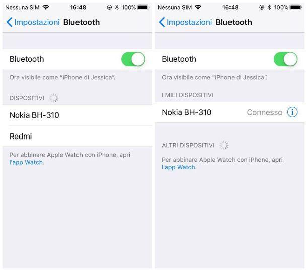 Collegare auricolare Bluetooth a iOS