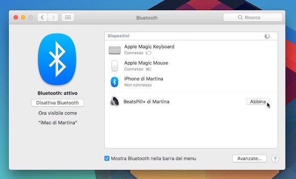 Collegare auricolare Bluetooth a macOS