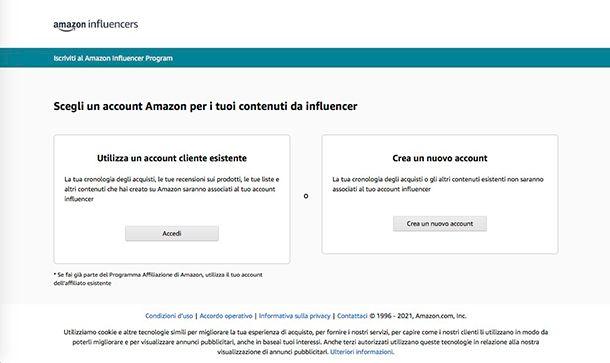 Come guadagnare con Amazon iscrizione programma Influencers