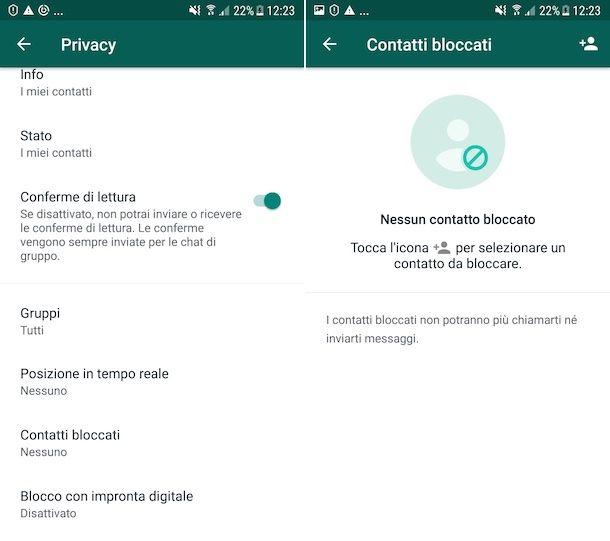 Bloccare contatto WhatsApp Android