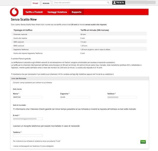 Come attivare Vodafone Senza Scatto New