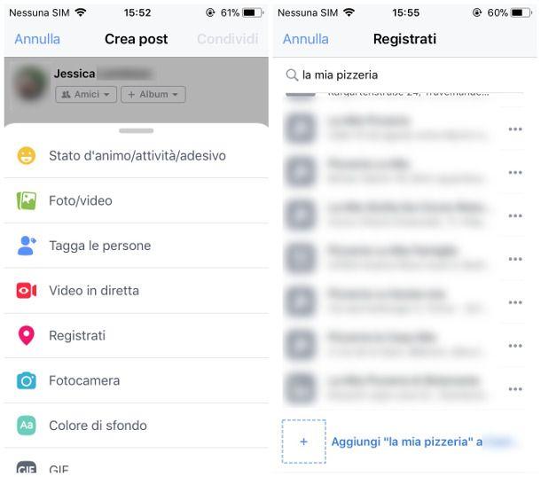 Creare un luogo su Facebook per iOS