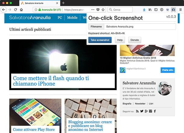 Come copiare una pagina Web come immagine Firefox