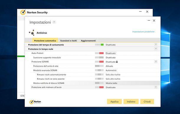 Come disattivare antivirus Norton