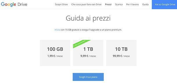 Prezzi Google Drive