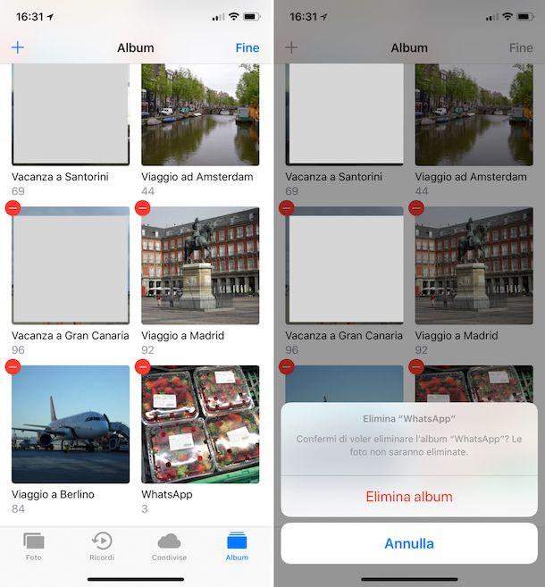 Come faccio a cancellare un album dall'iPhone