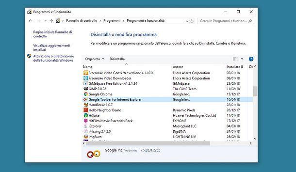 Come rimuovere toolbar