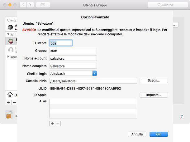 Come nascondere un utente su Mac