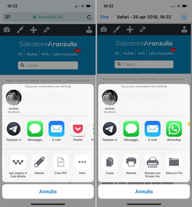 Come copiare una pagina Web in PDF iOS