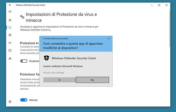 Come disattivare antivirus Windows 10