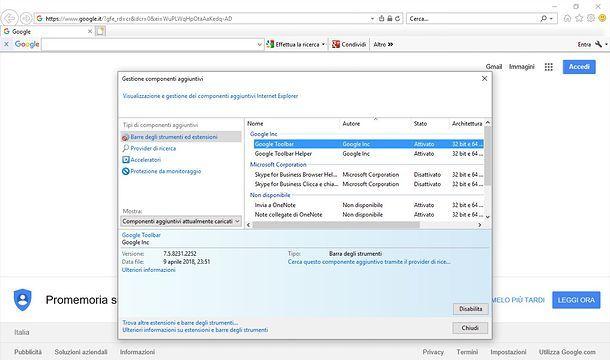 Gestione componenti aggiuntivi Internet Explorer