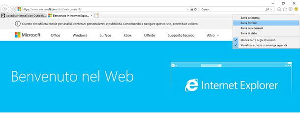 Come nascondere barra preferiti Internet Explorer