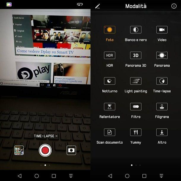 Funzione integrata time lapse Android