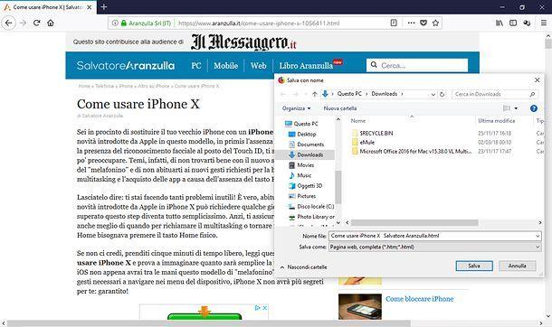Come copiare una pagina Web con Firefox