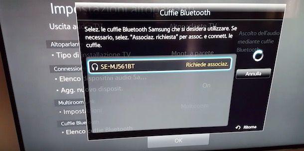 Come collegare le cuffie alla TV: Bluetooth integrato