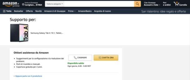 Ricevere supporto Amazon per un prodotto
