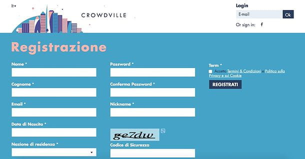 Iscriversi a CrowdVille