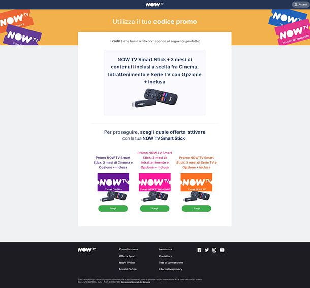 Codice promo NOW TV Smart Stick