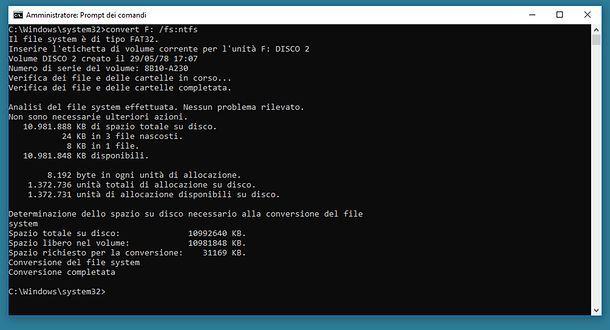 Come formattare NTFS da Prompt
