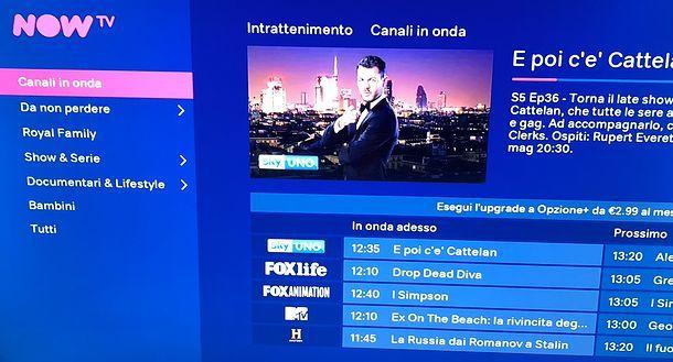 Canali in onda NOW TV Smart Stick