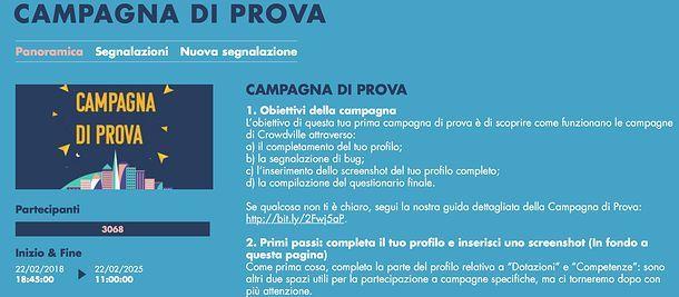 Campagna di prova CrowdVille