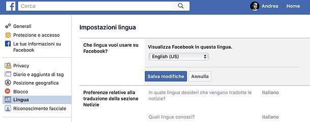 Lingua Facebook
