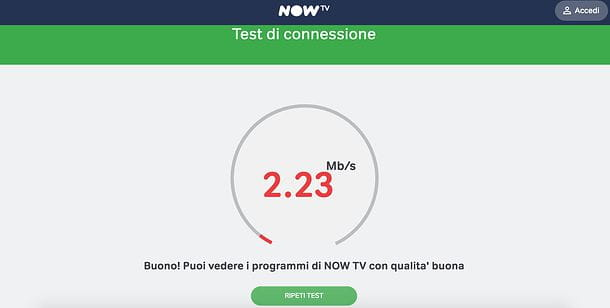Speed test NOW TV