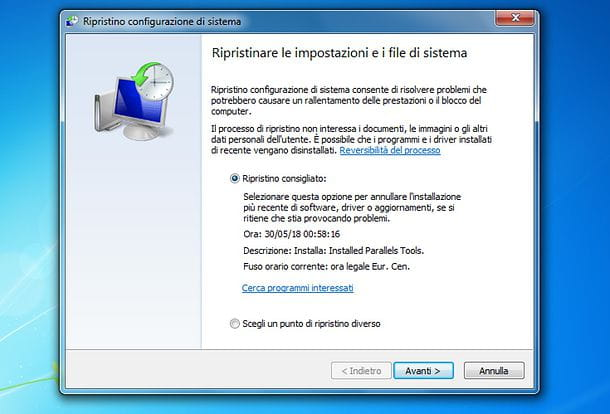 Punto di ripristino Windows 7