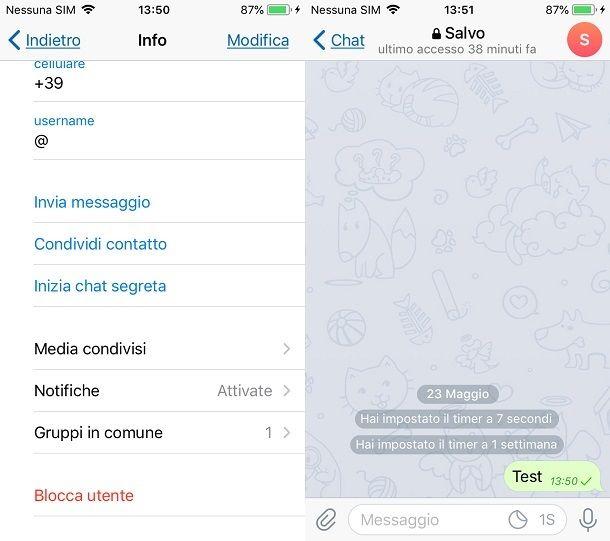 Come chattare su Telegram in una chat segreta