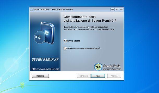 Disinstallare Seven Remix XP