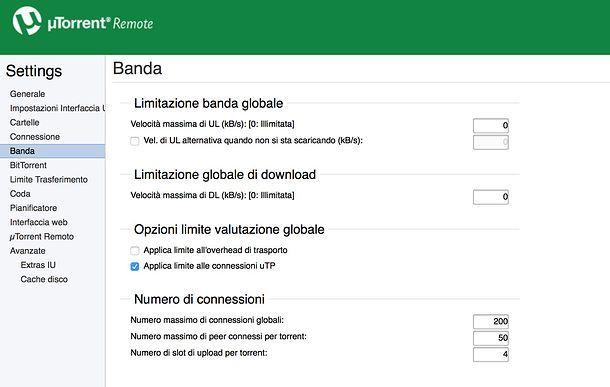Impostazioni uTorrent Remote