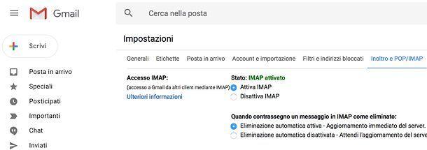 Come attivare IMAP su Gmail