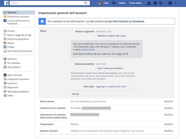 Come cambiare nome su Facebook prima dei 60 giorni