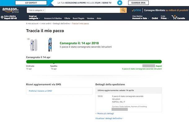 Come contattare corriere Amazon